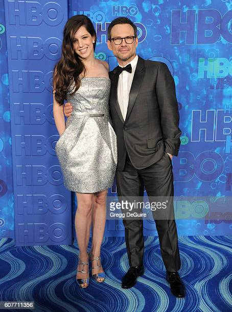 Actor Christian Slater and wife Brittany Lopez arrive at HBO's Post Emmy Awards Reception at The Plaza at the Pacific Design Center on September 18,...