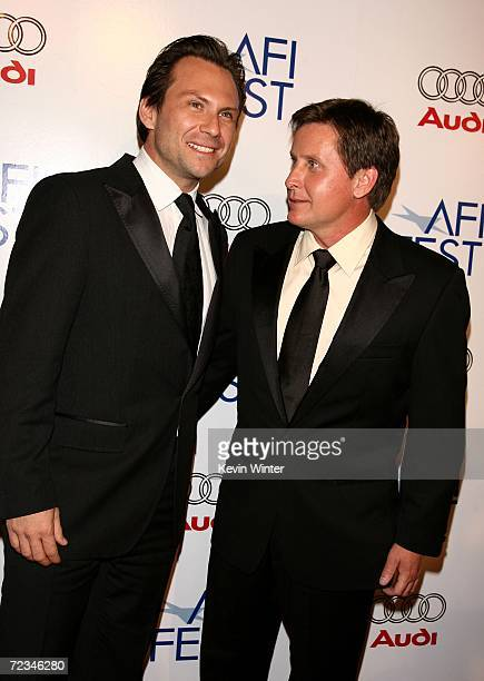 Actor Christian Slater and writer/director Emilio Estevez arrive at the AFI FEST presented by Audi opening night gala of Bobby at the Grauman's...