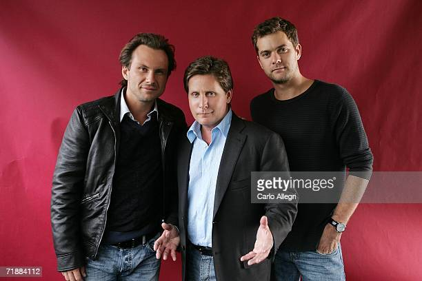 Actor Christian Slater director Emilio Estevez and actor Joshua Jackson of the film 'Bobby' pose for portraits in the Chanel Celebrity Suite at the...