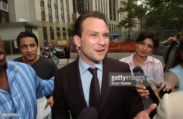 Actor Christian Slater leaves the courthouse after his control hearing July 14 2005 in New York City Slater was charged with third degree sex abuse...