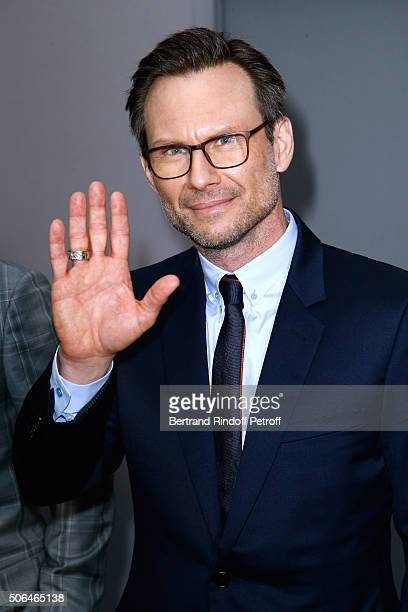 Actor Christian Slater poses Backstage after the Dior Homme Menswear Fall/Winter 20162017 show as part of Paris Fashion Week on January 23 2016 in...