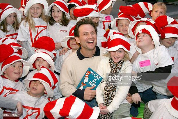 Actor Christian Slater reads to the children at the Village at the Lift during the 2007 Sundance Film Festival on January 22 2007 in Park City Utah