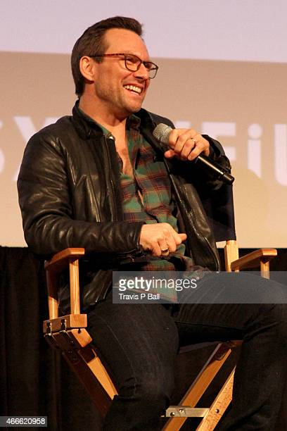 Actor Christian Slater speaks onstage at the premiere of Mr Robot during the 2015 SXSW Music Film Interactive Festival at Austin Convention Center on...