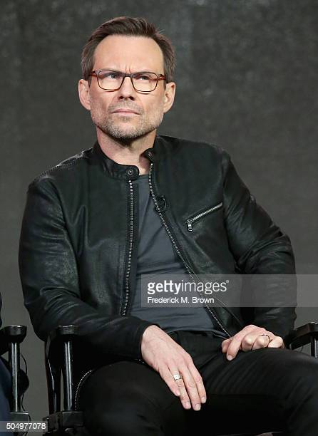 Actor Christian Slater speaks onstage during the 'Mr Robot' panel discussion at the NBCUniversal portion of the 2016 Winter TCA Tour at Langham Hotel...