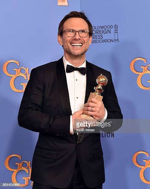 Actor Christian Slater winner of Best Supporting Performance in a Series Miniseries or Television Film for 'Mr Robot' poses in the press room during...