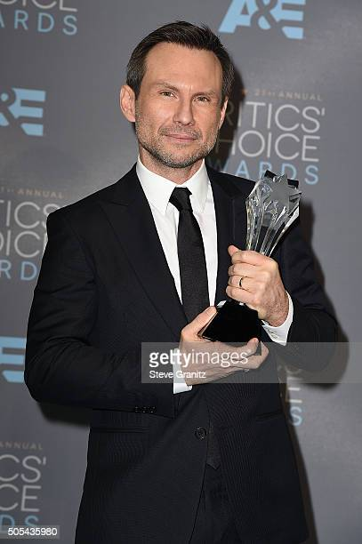 """Actor Christian Slater, winner of the award for Best Supporting Actor in a Drama Series for """"Mr. Robot,"""" poses in the press room during the 21st..."""