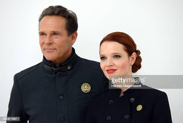 Actor Christian Tramitz and actress Karoline Herfurth attend 'Gespensterjaeger Auf eisiger Spur' Photocall at the Bavaria Studios on November 20 2013...
