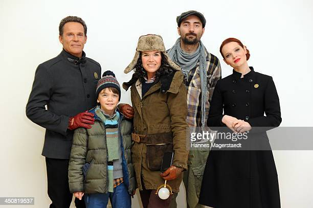 Actor Christian Tramitz Milo Parker Anke Engelke Tobi Baumann and Karoline Herfurth attend 'Gespensterjaeger Auf eisiger Spur' Photocall at the...