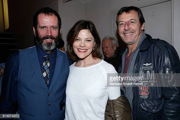 Actor Christian Vadim Actress of the play Alexandra Kazan and TV Host JeanLuc Reichmann attend the Garde Alternee Theater Play at Theatre des...