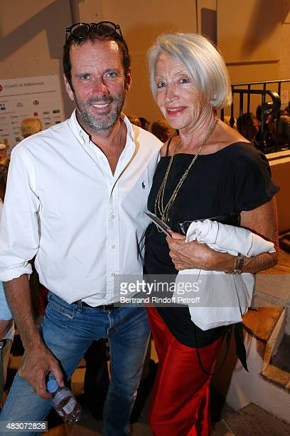 Actor Christian Vadim and Director of Theatre SaintGeorges MarieFrance Mignal attend the 'Georges and Georges' Theater play during the 31th...