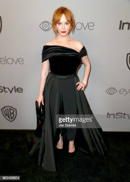 Actor Christina Hendricks attends the 2018 InStyle and Warner Bros 75th Annual Golden Globe Awards PostParty at The Beverly Hilton Hotel on January 7...