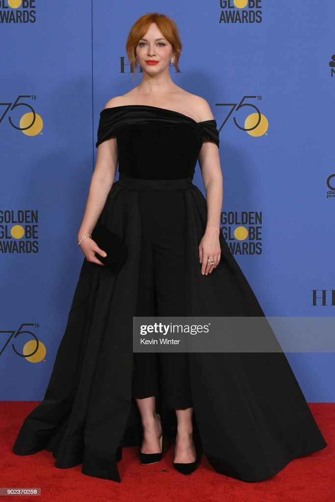 Actor Christina Hendricks poses in the press room during The 75th Annual Golden Globe Awards at The Beverly Hilton Hotel on January 7, 2018 in Beverly Hills, California.