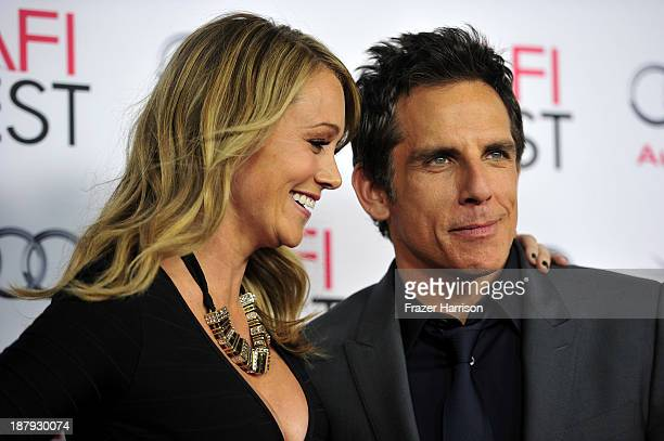 Actor Christine Taylor and actor/director/producer Ben Stiller attend the premiere of The Secret Life of Walter Mitty during AFI FEST 2013 presented...