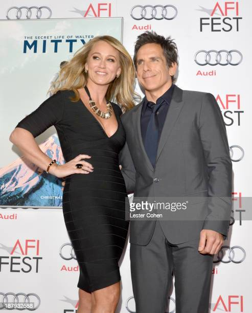 """Actor Christine Taylor and actor/director/producer Ben Stiller attend the premiere of """"The Secret Life of Walter Mitty"""" during AFI FEST 2013..."""