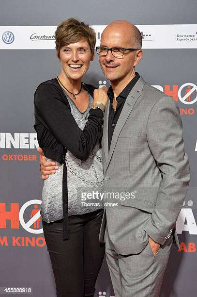 Actor Christoph Maria Herbst and his wife Gisi Herbst attend the German premiere of the film 'Maennerhort' at CineStar Metropolis on September 21...