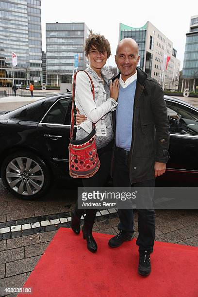 Actor Christoph Maria Herbst and his wife Gisi Herbst attend the German premiere of the film 'Mara und der Feuerbringer' at Cinedom on March 29 2015...