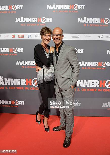 Actor Christoph Maria Herbst and his wife Gisi Herbst the German premiere of the film 'Maennerhort' at CineStar Metropolis on September 21 2014 in...