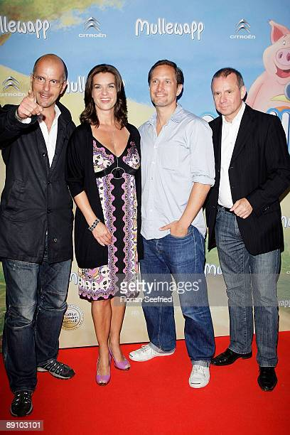 Actor Christoph Maria Herbst Katarina 'Kati' Witt actor Benno Fuehrmann and actor Joachim Krohl attend the Berlin premiere of Mullewapp at UCI...