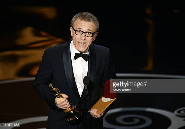 Actor Christoph Waltz accepts the Best Supporting Actor award for Django Unchained onstage during the Oscars held at the Dolby Theatre on February 24...