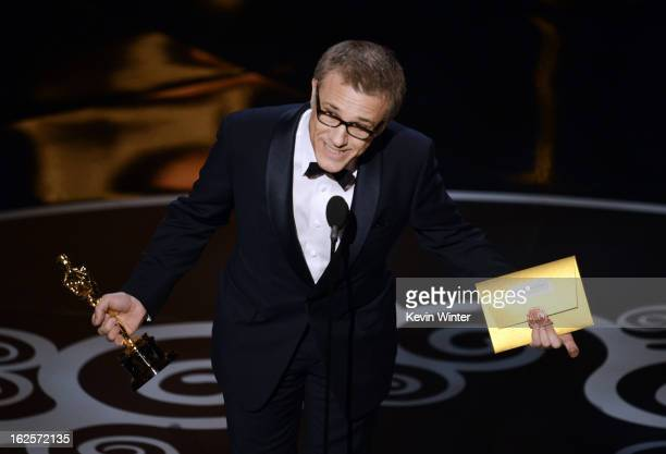"Actor Christoph Waltz accepts the Best Supporting Actor award for ""Django Unchained"" onstage during the Oscars held at the Dolby Theatre on February..."