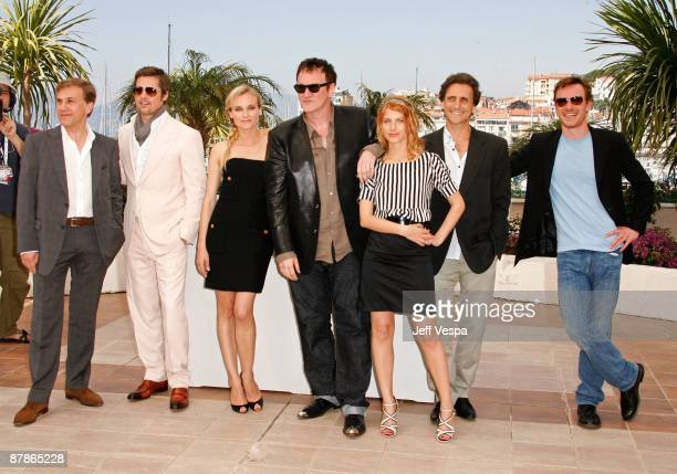 Actor Christoph Waltz actor Brad Pitt actress Diane Kruger director Quentin Tarantino actress Melanie Laurent actor Lawrence Bender and actor Michael...