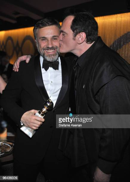 Actor Christoph Waltz and director Quentin Tarantino attend the Weinstein Company Golden Globes after party cohosted by Martini held at BAR 210 at...