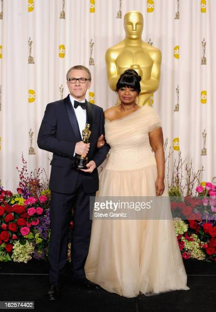 Actor Christoph Waltz and presenter Octavia Spencer pose in the press room during the Oscars at the Loews Hollywood Hotel on February 24, 2013 in...
