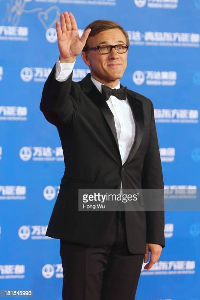 Actor Christoph Waltz attends the red carpet show for the Qingdao Oriental Movie Metropolis on September 22 2013 in Qingdao China