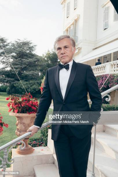 Actor Christoph Waltz is photographed for Paris Match whilst attending the Amfar Gala at the Eden Roc Hotel on May 25 2017 in Antibes France