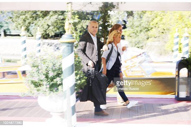 Actor Christoph Waltz is seen arriving at the 75th Venice Film Festival at Excelsior Darsena on August 27 2018 in Venice Italy