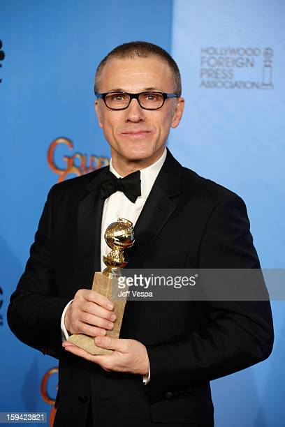 Actor Christoph Waltz poses in the press room at the 70th Annual Golden Globe Awards held at The Beverly Hilton Hotel on January 13 2013 in Beverly...