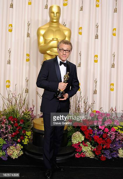 Actor Christoph Waltz poses in the press room during the Oscars at the Loews Hollywood Hotel on February 24, 2013 in Hollywood, California.