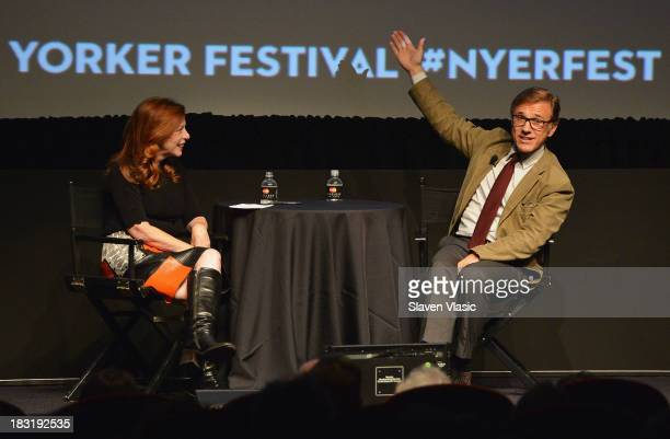 """Actor Christoph Waltz speaks with journalist Susan Orlean at """"In Conversation"""" during the New Yorker Festival 2013 at SVA Theater 1 on October 5,..."""