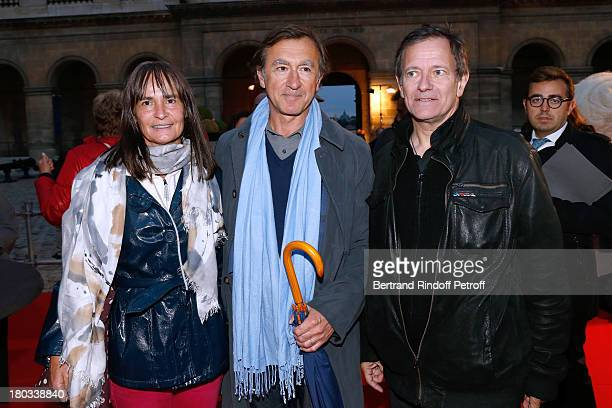 Actor Christophe Malavoy with his wife Isabelle and stage director of the opera Francis Huster attend 'Opera En Plein Air' Gala with 'La flute...