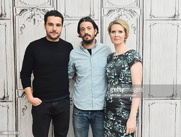 Actor Christopher Abbott filmmaker Josh Mond and actress Cynthia Nixon attend the AOL BUILD Speaker Series James White at AOL Studios In New York on...