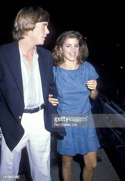 Actor Christopher Atkins and actress Cynthia Gibb attend Heidi Hagman's Wedding Ceremony on October 29 1983 at Larry Hagman's home in Malibu...