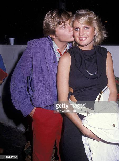 Actor Christopher Atkins and girlfriend Lyn Barron attend the Robin Leach's Christmas Party on December 2 1984 at Spago in West Hollywood California