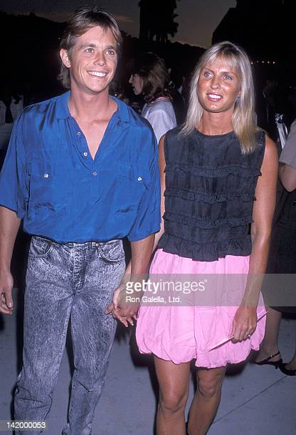Actor Christopher Atkins and wife Lyn Barron attend The Dream Team Universal City Premiere on April 4 1989 at Universal Studios in Universal City...