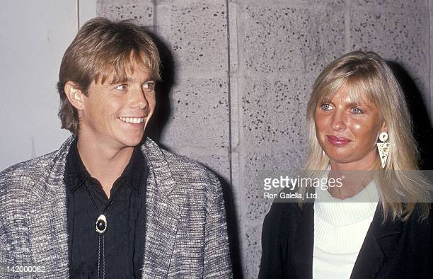 Actor Christopher Atkins and wife Lyn Barron attend the Listen to Me Beverly Hills Premiere on May 3 1989 at the Samuel Goldwyn Theatre in Beverly...