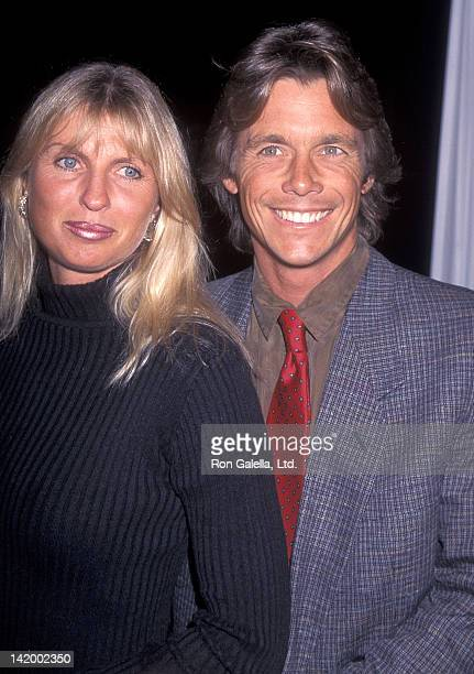 Actor Christopher Atkins and wife Lyn Barron attend the Mrs Winterbourne Beverly Hills Premiere on April 16 1996 at the Academy of Motion Picture...