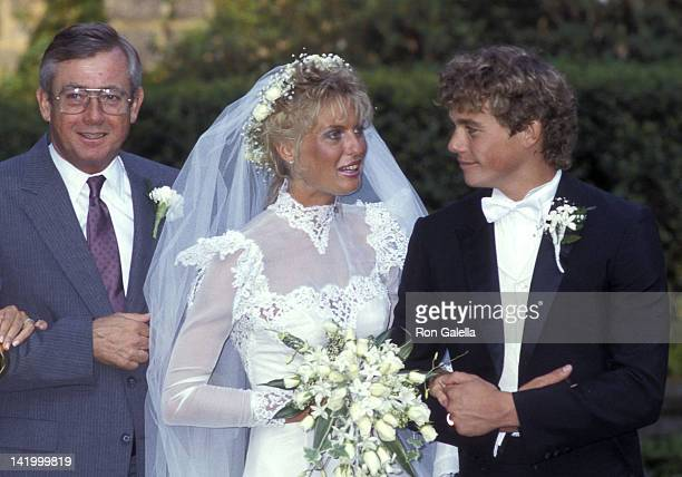 Actor Christopher Atkins his bride Lyn Barron and his father Donald Bomann attend their wedding on May 25 1985 at the Rye Presbyterian Church in Rye...