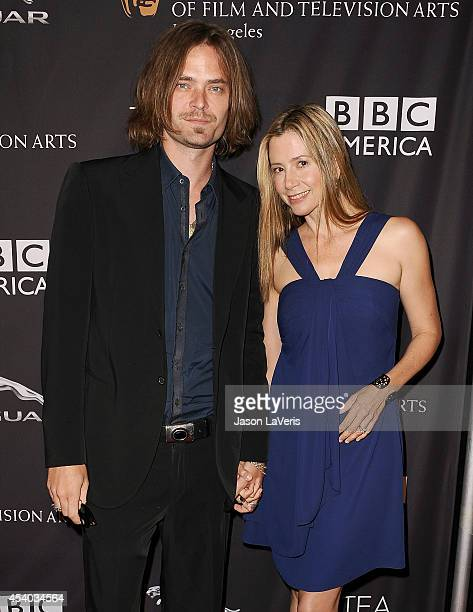 Actor Christopher Backus and actress Mira Sorvino attend the BAFTA Los Angeles TV Tea Party at SLS Hotel on August 23 2014 in Beverly Hills California