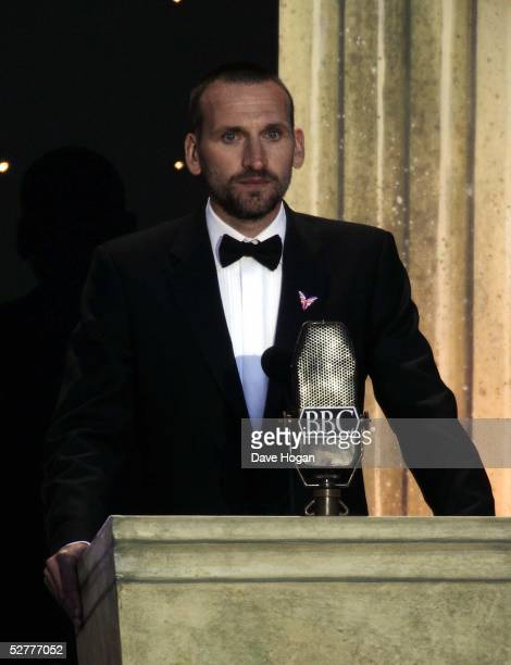 Actor Christopher Ecclestone recites on stage at 'A Party To Remember' a free concert celebrating the 60th anniversary of VE Day in Trafalgar Square...