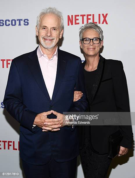 """Actor Christopher Guest and actress Jamie Lee Curtis arrive at a screening of Netflix's """"Mascots"""" at the Linwood Dunn Theater on October 5, 2016 in..."""