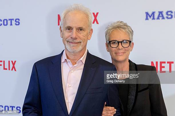 Actor Christopher Guest and actress Jamie Lee Curtis arrive at a Screening Of Netflix's Mascots at the Linwood Dunn Theater on October 5 2016 in Los...