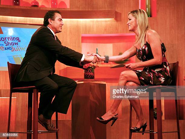 Actor Christopher Knight visits with TV Host Juliet Huddy during The Morning Show with Mike and Juliet at Fox Studios on September 16 2008 in New...