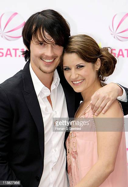 Actor Christopher Kohn and actress Vanessa Jung attend the Fan Event of 'Anna Und Die Liebe' and 'Hand aufs Herz' at Sony Centre on May 7 2011 in...