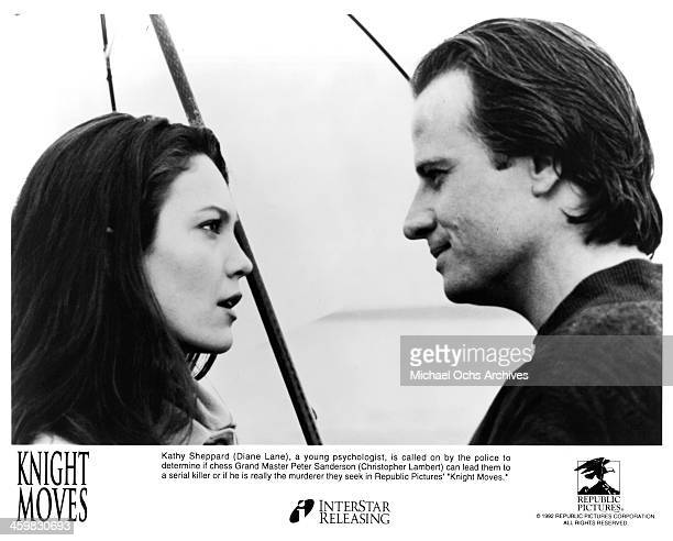 Actor Christopher Lambert and actress Diane Lane on set of the movie 'Knight Moves' circa 1992