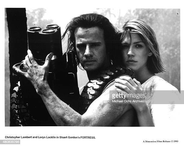 Actor Christopher Lambert and actress Loryn Locklin in a scene from the movie Fortress circa 1992