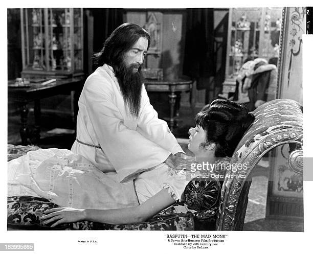 Actor Christopher Lee and actress Barbara Shelley on set of the 20th CenturyFox movie 'Rasputin The Mad Monk' in 1966